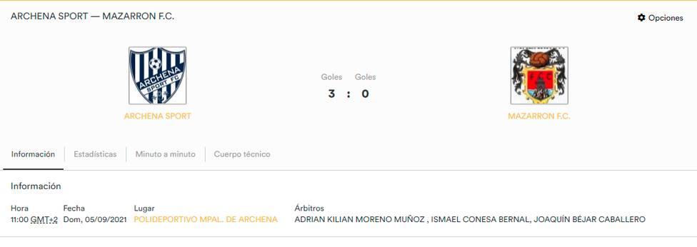 El Mazarrón FC pierde el punto conseguido en Archena