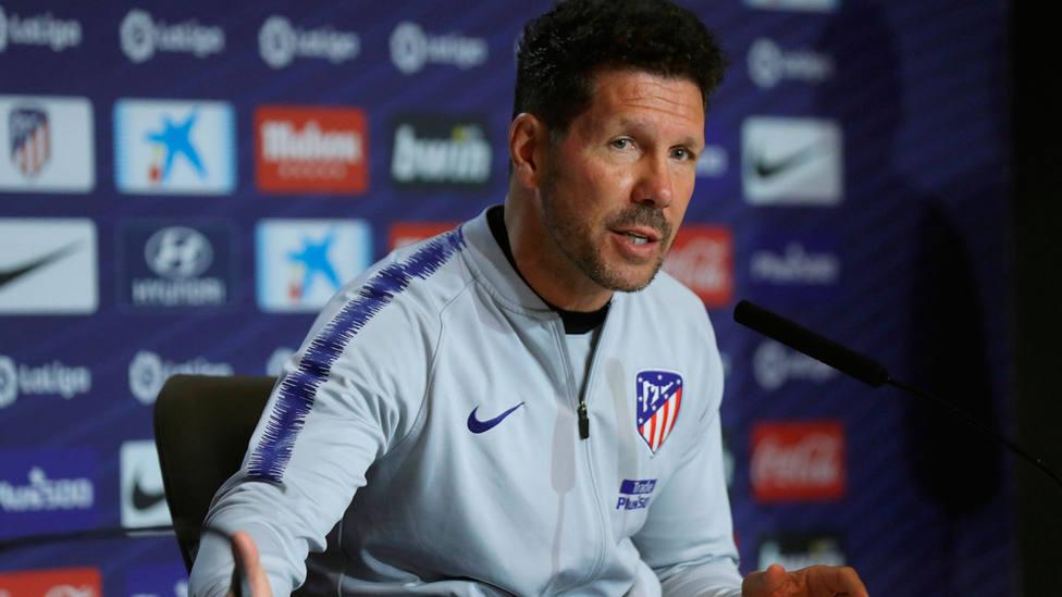 Diego Simeone, entrenador del Atlético de Madrid, en rueda de prensa. EFE