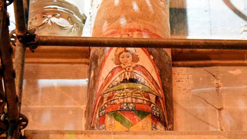 La pintura muestra a un ángel portando el escudo de un Obispo de Palencia del siglo XV