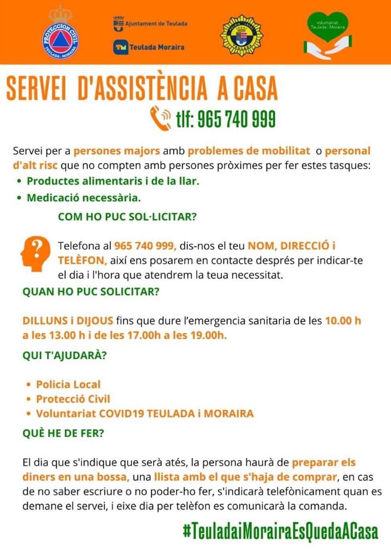 Cartel de Servicio de Asistencia Domiciliaria en Teulada Moriara.