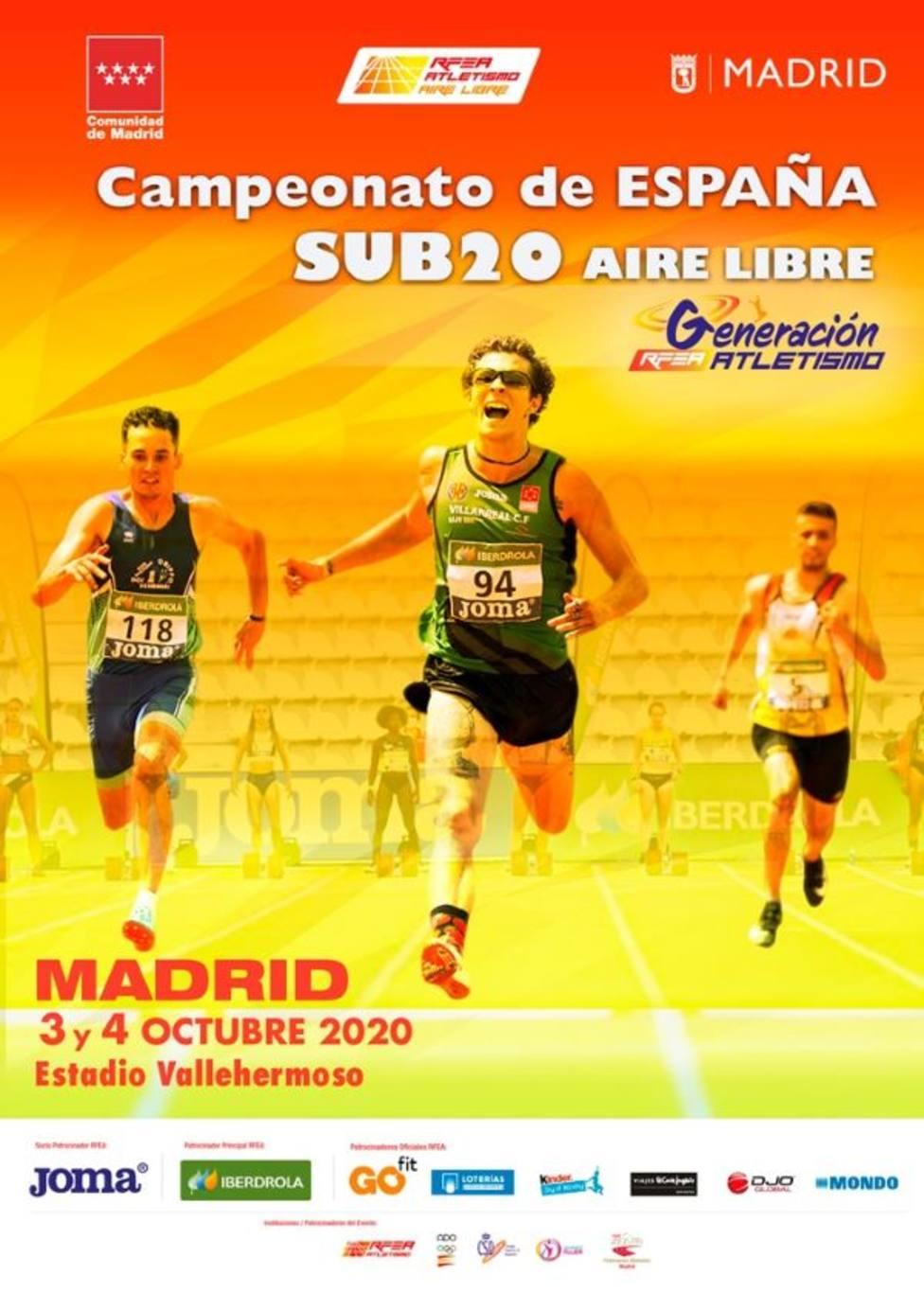 21 atletas de la región disputarán en Madrid el campeonato de España sub-20 en Madrid
