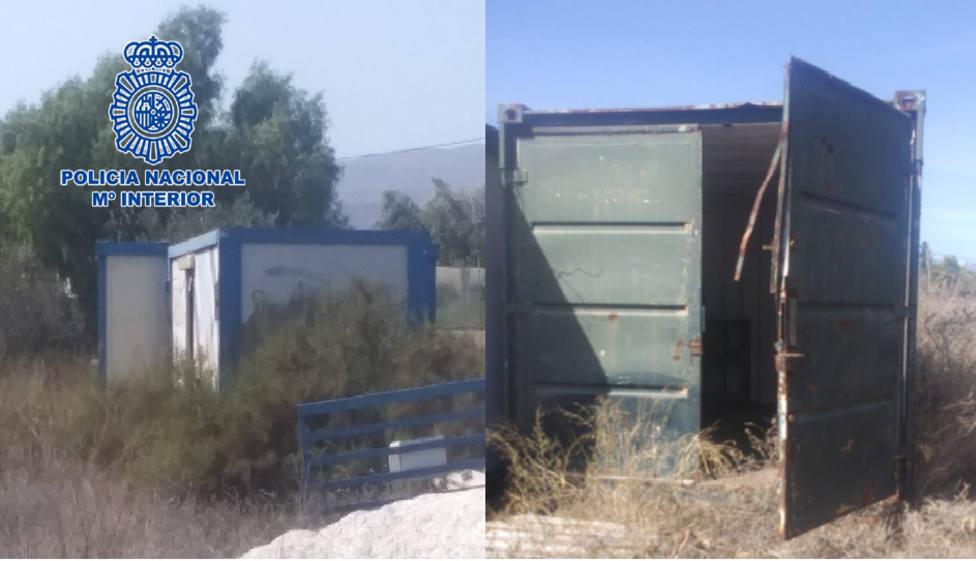 Detenido en Almería por vender casetas prefabricadas y contenedores de obras de una finca ajena