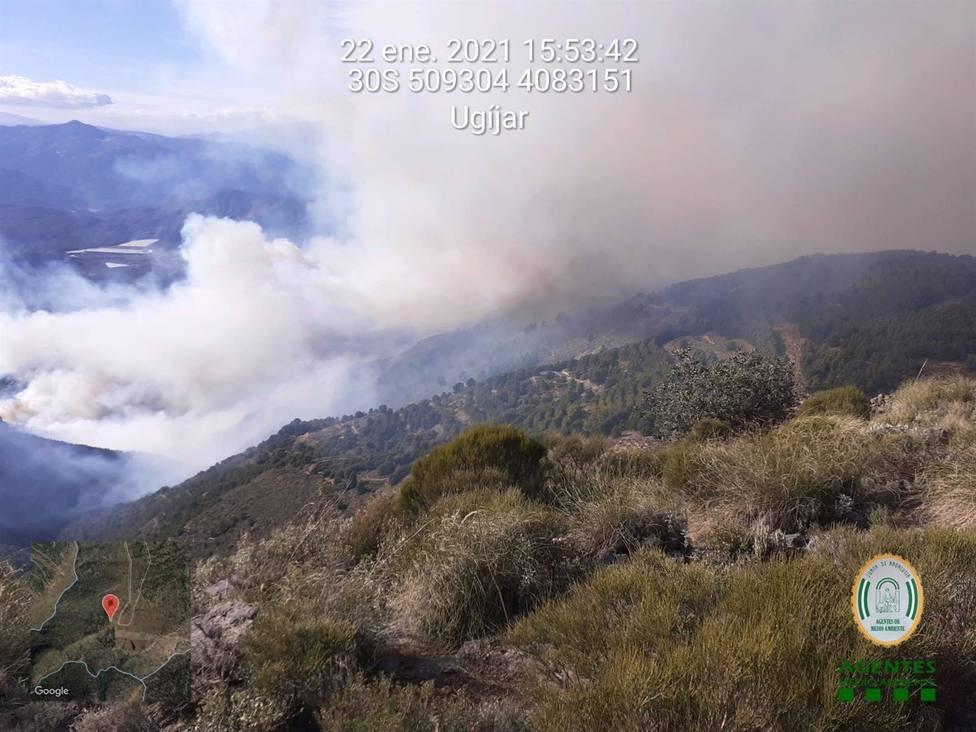 El Infoca trabaja para sofocar un incendio en Castala, en Berja (Almería), complicado por los fuertes vientos