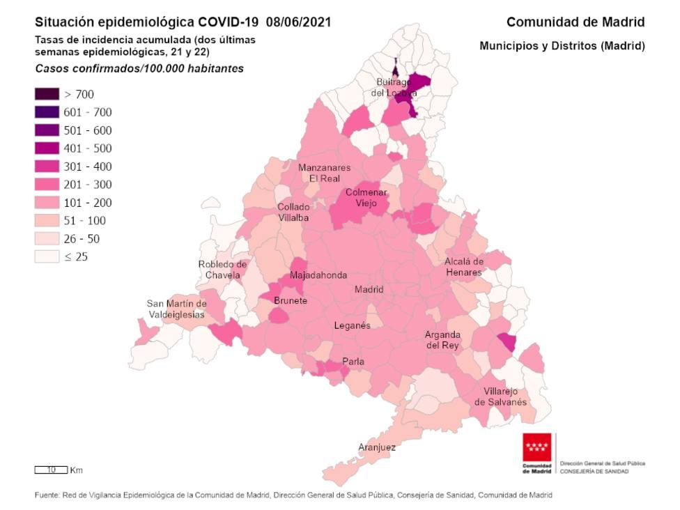 Mapa de incidencia Acumulada de covid- 19 a 8 de junio
