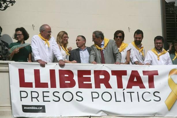 Artadi, Torra y Torrent en un acto pidiendo libertad para los políticos presos