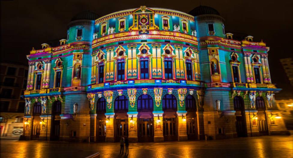 El Teatro Arriaga iluminado en la Noche Blanca 2018
