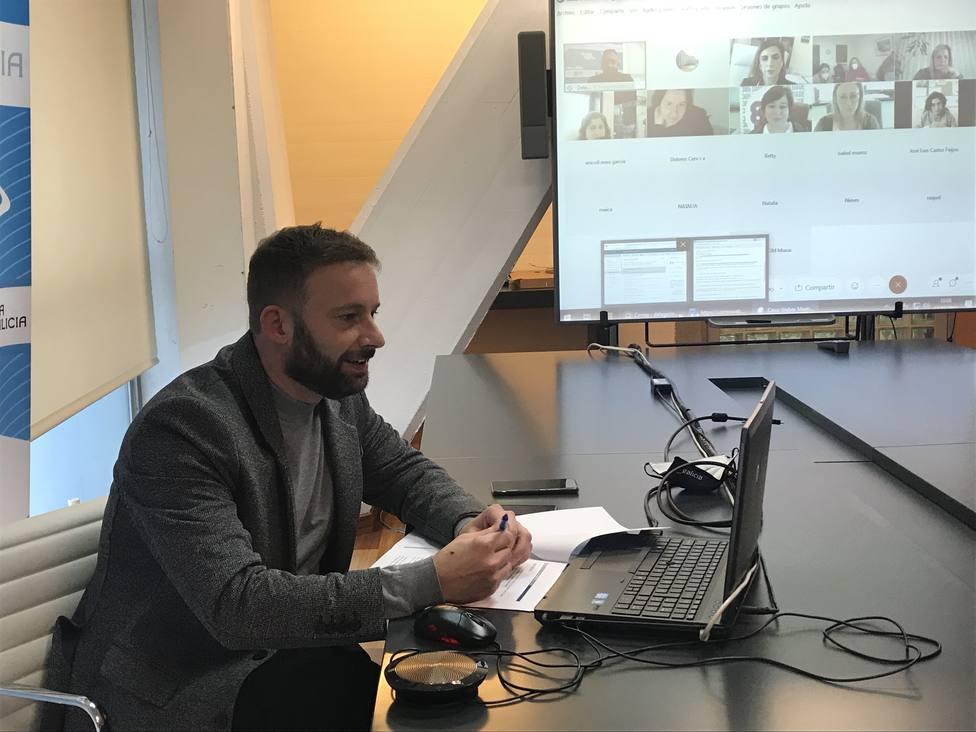 Gonzalo Trenor en videoconferencia con Susana López Abella. FOTO: Xunta de Galicia