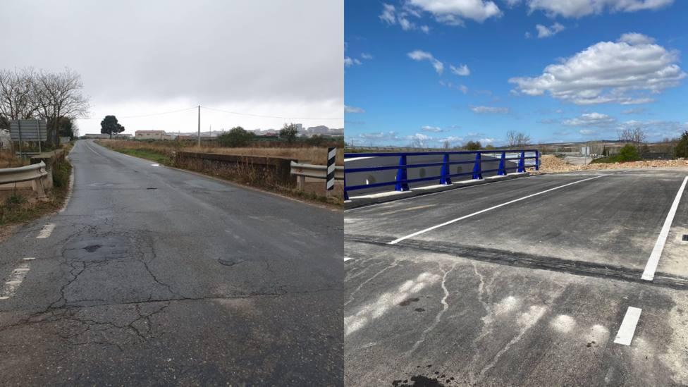 Las diferencias con el nuevo puente sobre el Canal de Lodosa en Calahorra