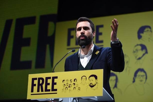 Roger Torrent en el acto por los políticos presos en la cárcel de Lledoners