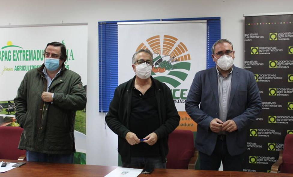 Los dirigentes de Cooperativas Agroalimentarias, ASAJA y UPA, Angel Pachecho, Angel García e Ignacio Huertas