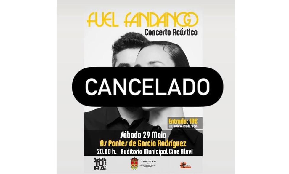 Cartel con la cancelación de la actuación - FOTO: Cedida