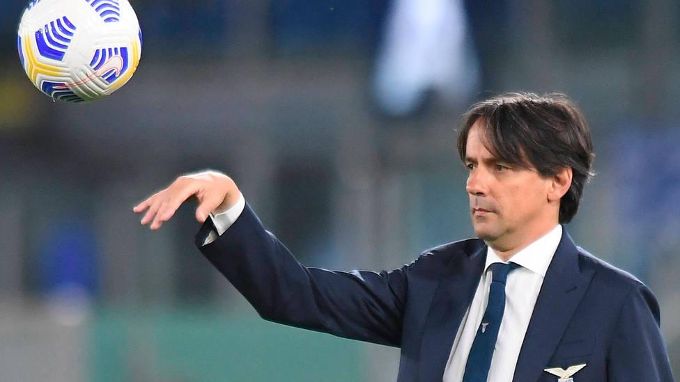 Simone Inzaghi, durante un partido como entrenador de la Lazio. CORDONPRESS