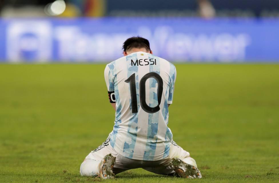 Messi celebrando la victoria de Argentina en la final de la Copa América.