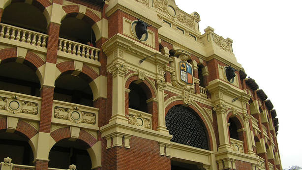 Fachada del coso de La Misericordia de Zaragoza