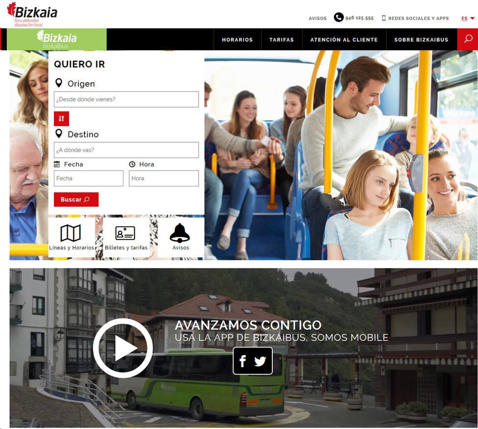 Nueva web de Bizkaibus
