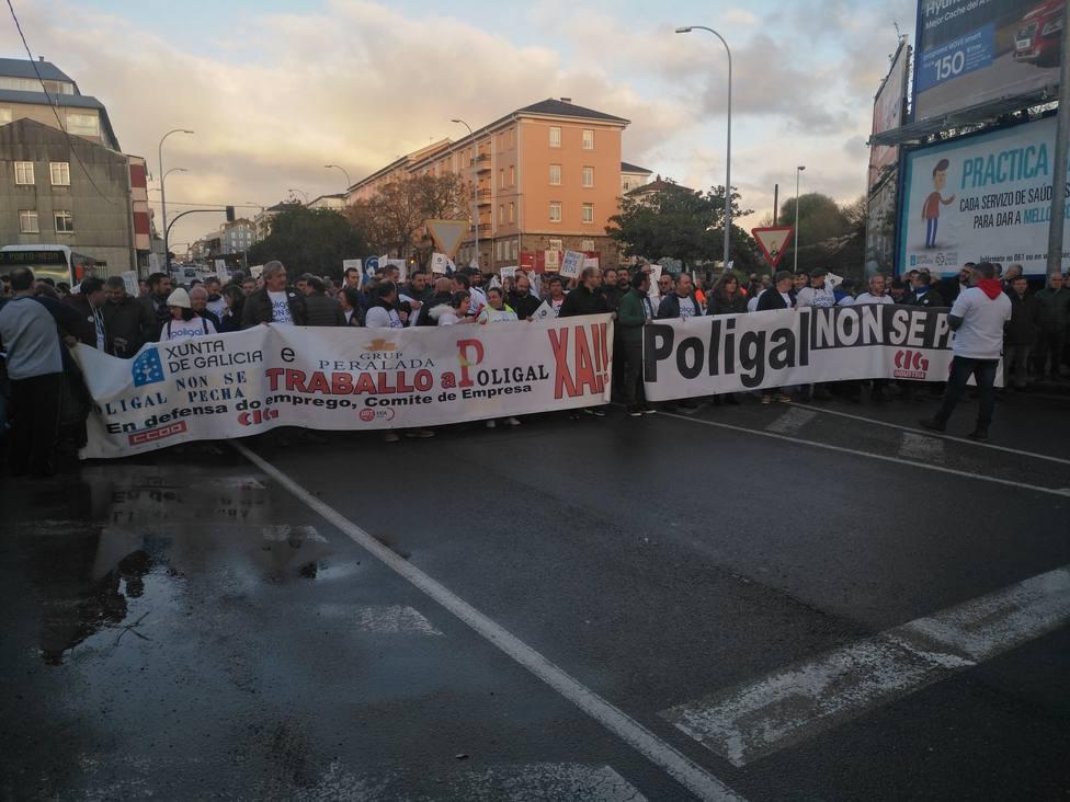 Cabecera de la manifestación de apoyo a los trabajadores de Poligal