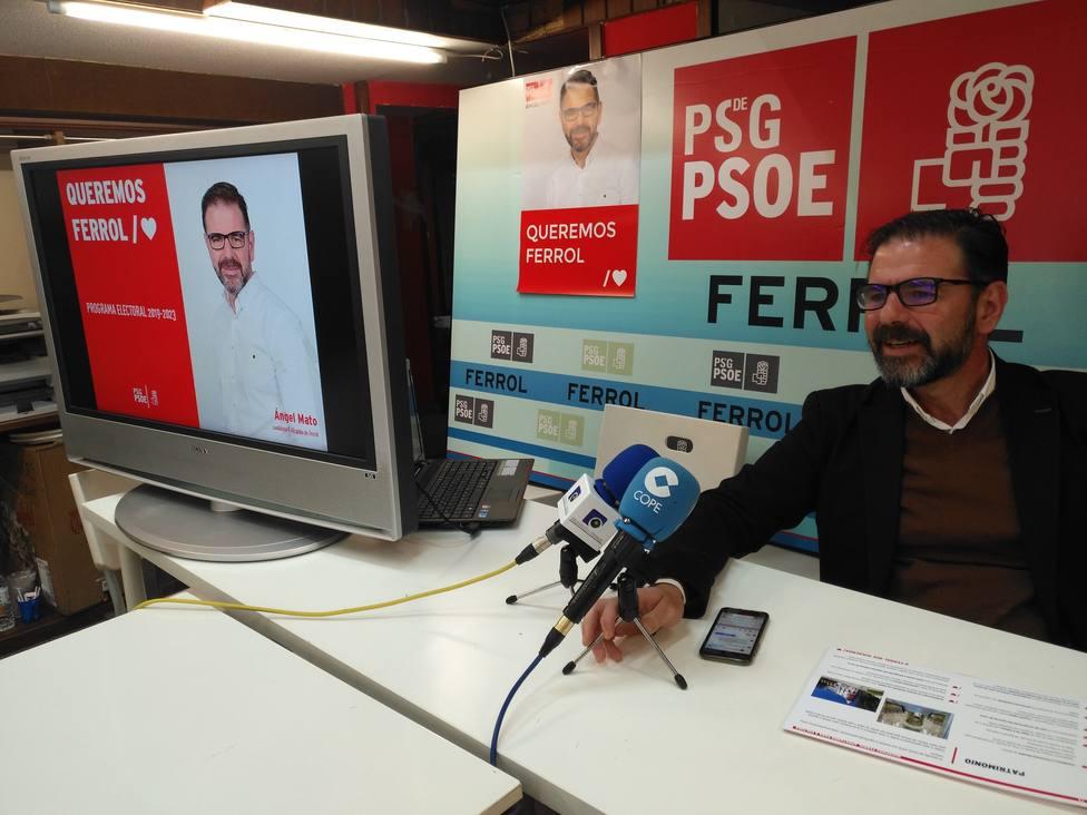 Ángel Mato, candidato del PSOE a la Alcaldía de Ferrol presentando su programa electoral