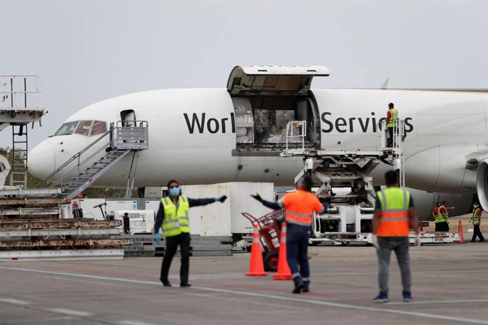 Llegan a España 800.000 mascarillas y 500.000 guantes por el corredor aéreo