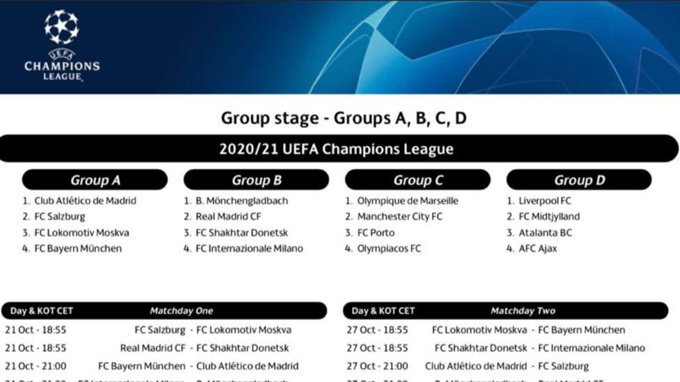 La UEFA presenta el calendario de la fase de grupos de la Champions League