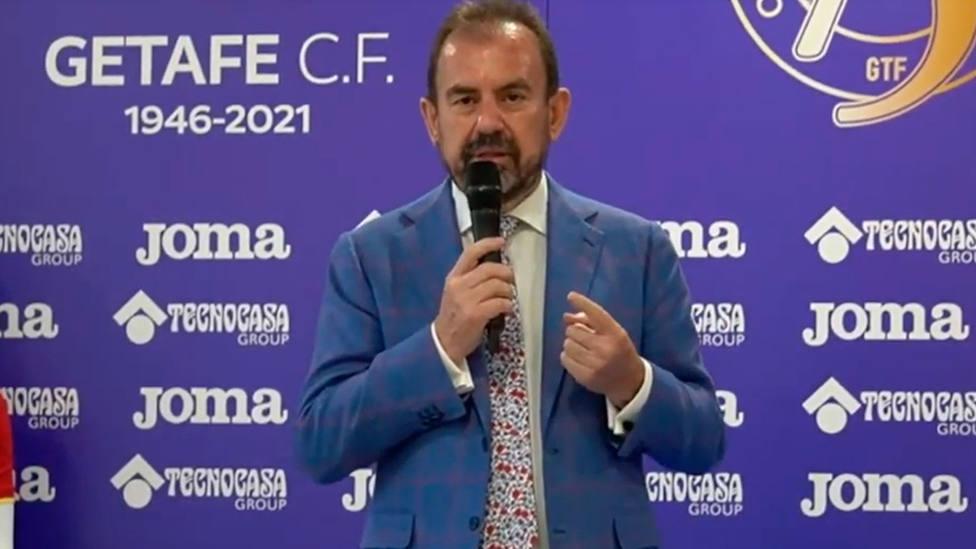 Ángel Torres, durante uno de los actos del 75 aniversario del Getafe CF