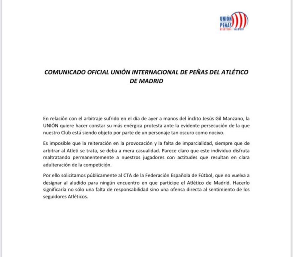 Comunicado Unión Federación Peñas Atlético