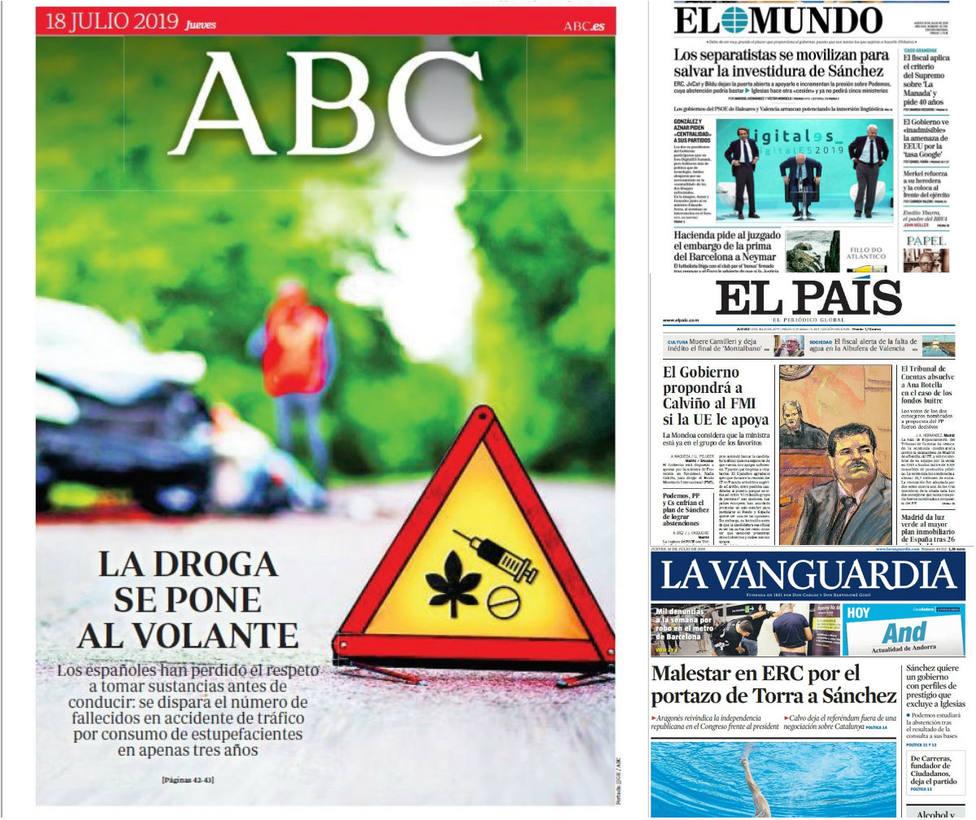 Las discrepancias para investir a Sánchez que fracturan al separatismo catalán, portada en la prensa