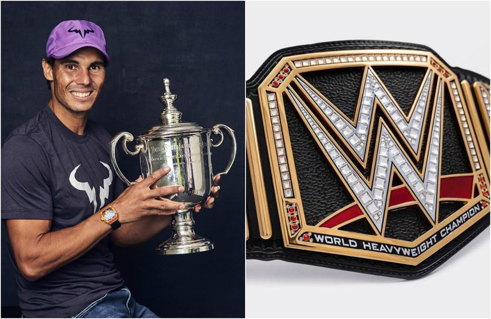 Rafa Nadal recibe el cinturón del campeón mundial de los pesados de lucha libre tras ganar el US Open