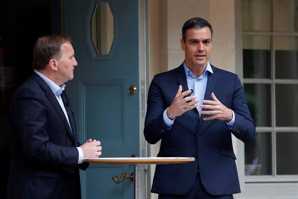 El presidente del Gobierno, Pedro Sánchez durante su encuentro con el primer ministro sueco, Stefan Löfven