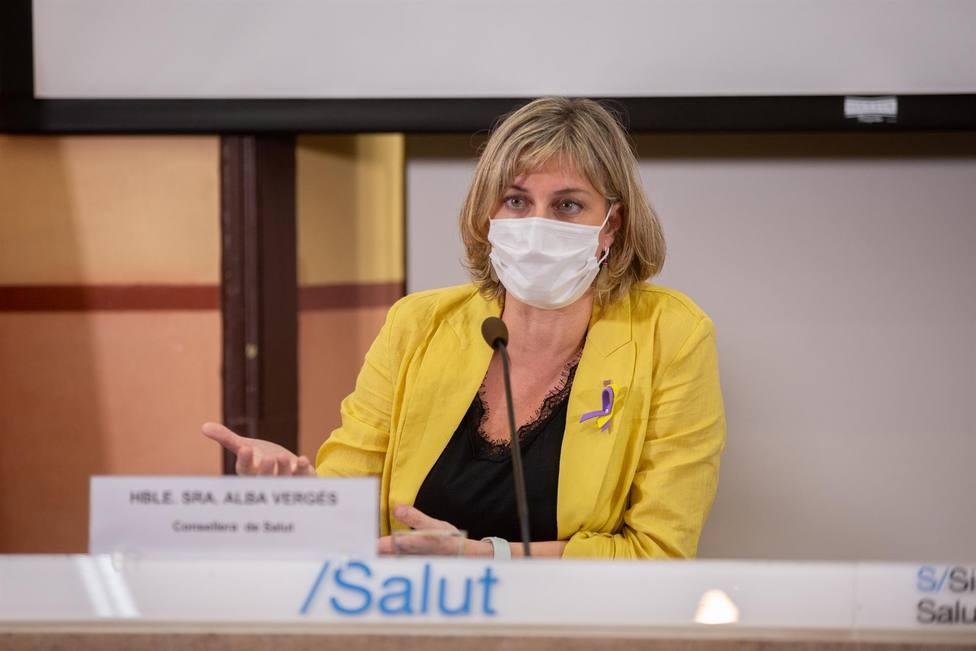 Alba Vergés, durante la presentación de un proyecto promovido por la Generalitat y la Creu Roja