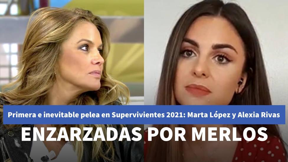 Primera e inevitable pelea en Supervivientes 2021: Marta López y Alexia Rivas se enzarzan por Alfonso Merlos