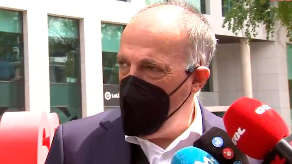 Javier Tebas, en la comparecencia ante los medios este miércoles, en la sede de LaLiga