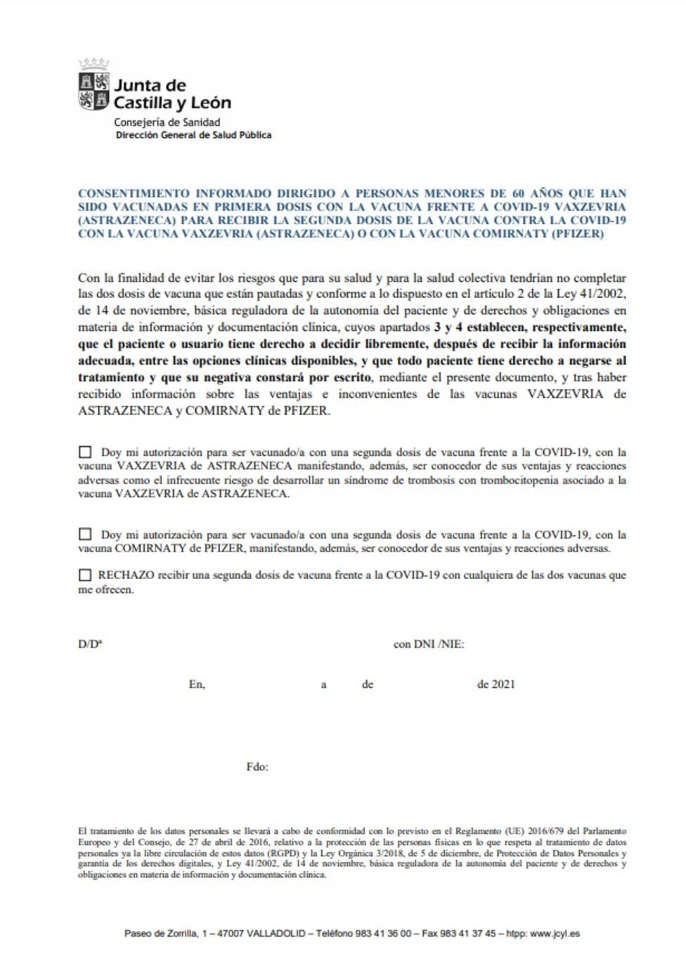 Consentimiento Informado de la Junta CyL