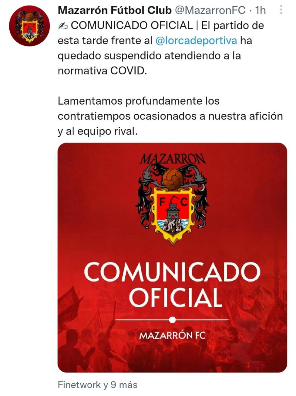 El Mazarrón FC - CF Lorca Deportiva, suspendido por COVID19