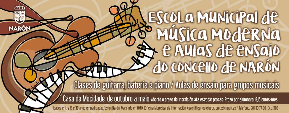 Cartel de la Escuela de Música Moderna y locales de ensayo. FOTO: Concello de Narón