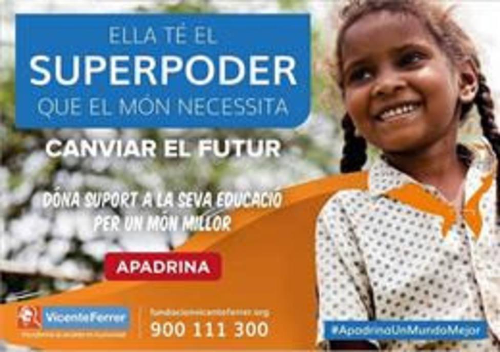 Cartel de la campaña Apadrina un mundo mejor, de la Fundación Vicente Ferrer