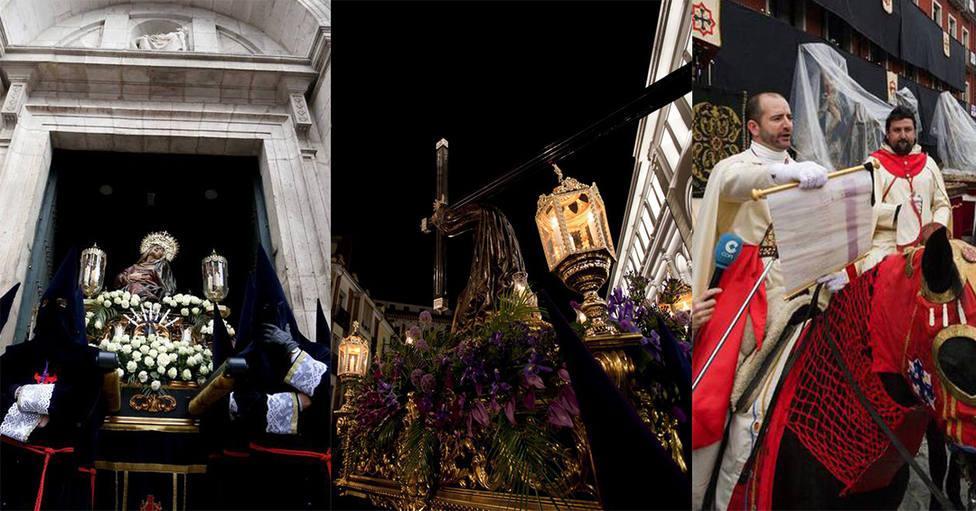 Fotomontaje de las cofradías de Las Angustias, Jesús Nazareno y Siete Palabras de Valladolid