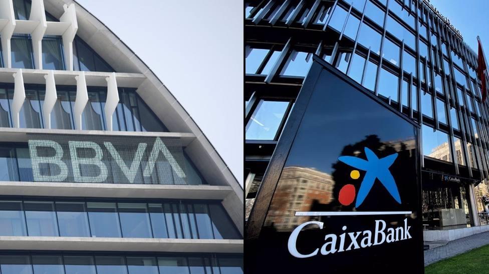 Sedes de BBVA y de CaixaBank en Madrid