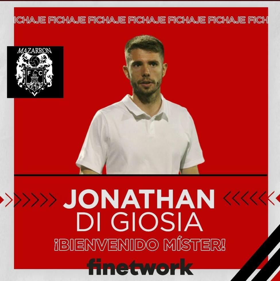 Jonathan Di Giosa será el entrenador del Mazarrón FC