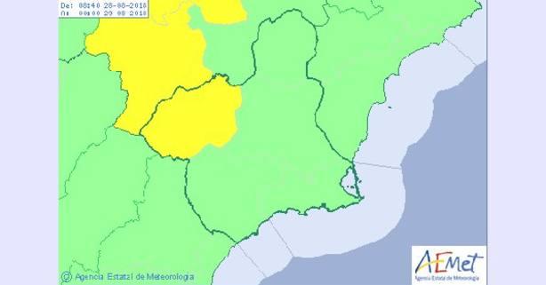 El noroeste de la región de Murcia estará esta tarde en alerta amarilla por tormentas