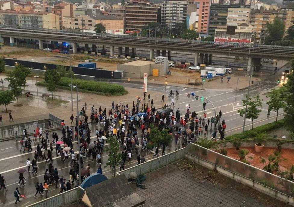 Imagen de la manifestación de Salt ayer por la tarde