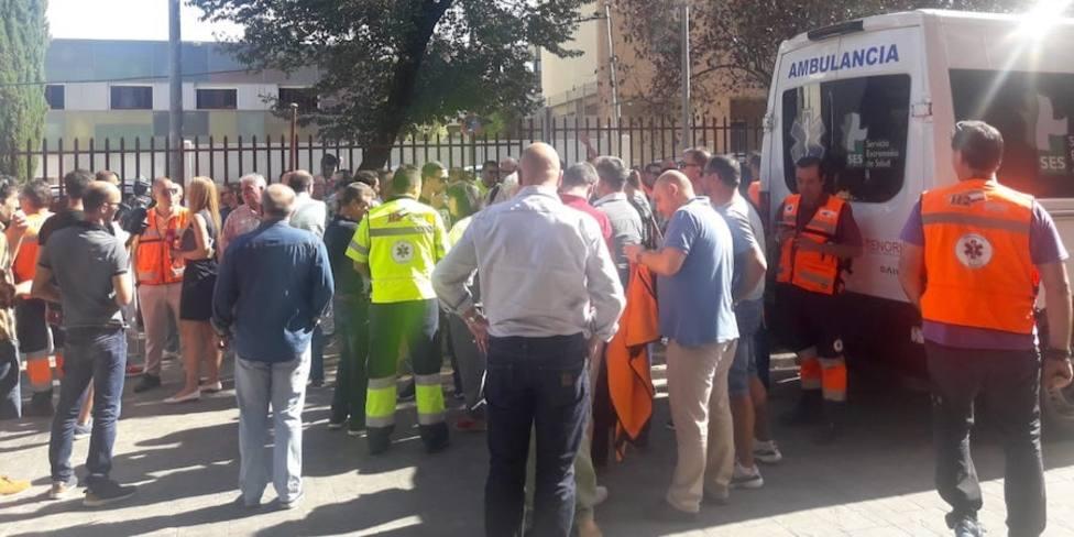 Concentración de los trabajadores de Ambulancias Tenorio. Foto: USO