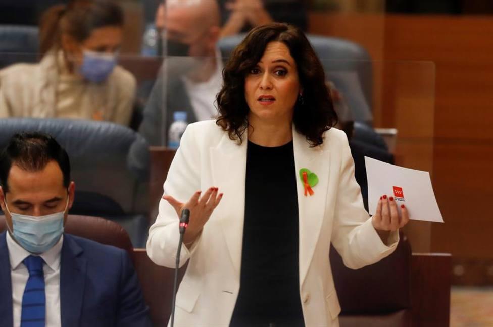 La presidenta madrileña, Isabel Díaz Ayuso, durante su intervención en el pleno de la Asamblea de Madrid