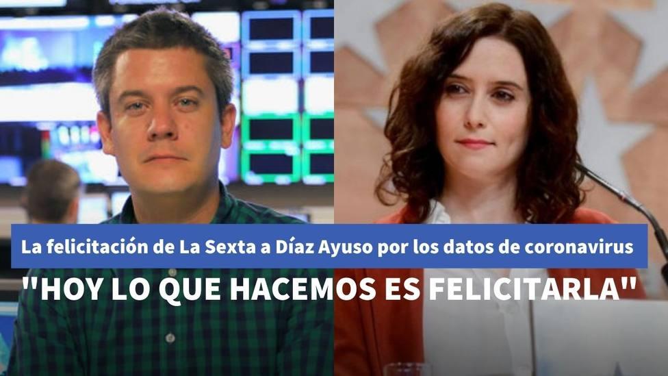 La felicitación de La Sexta a Díaz Ayuso por ser la región con menos incidencia de coronavirus en la península