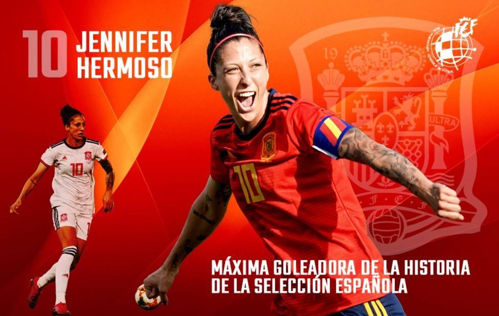 Jenni Hermoso supera a Vero Boquete como máxima goleadora de la selección