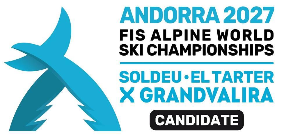 Logo y candidatura del Mundial de esquí de los Pirineos en Andorra el 2027 - ANDORRA 2027