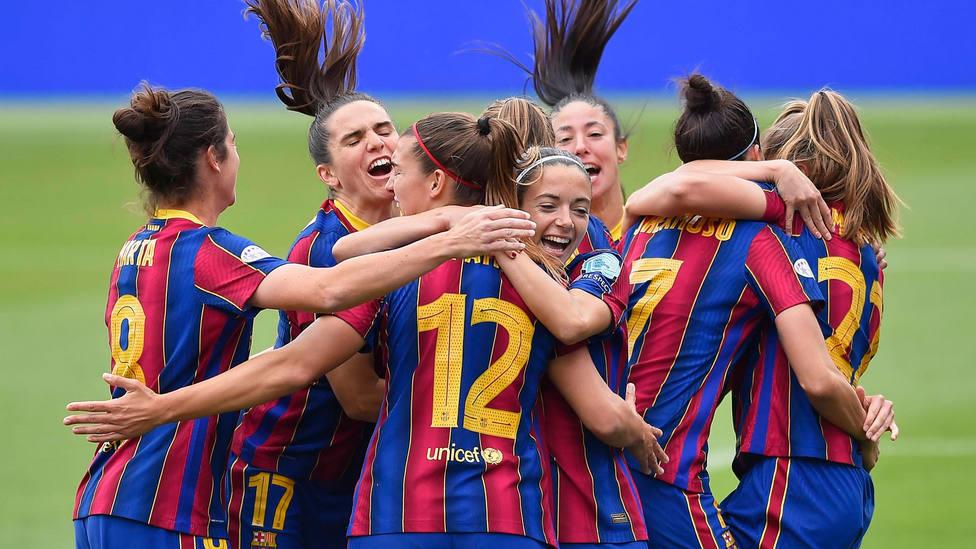 El Barça femení celebra el triunfo frente al PSG en la Champions League. CORDONPRESS