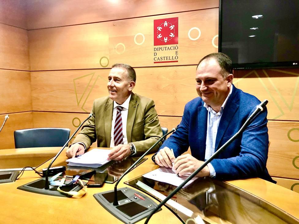 Vicent Sales, portavoz del PP en la Diputación, junto a Salvador Aguilella, secretario general del PP