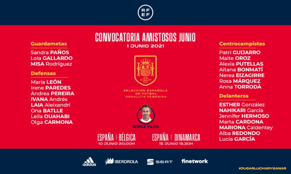 Jorge Vilda da la lista de las jugadoras que jugarán ante Bélgica y Dinamarca