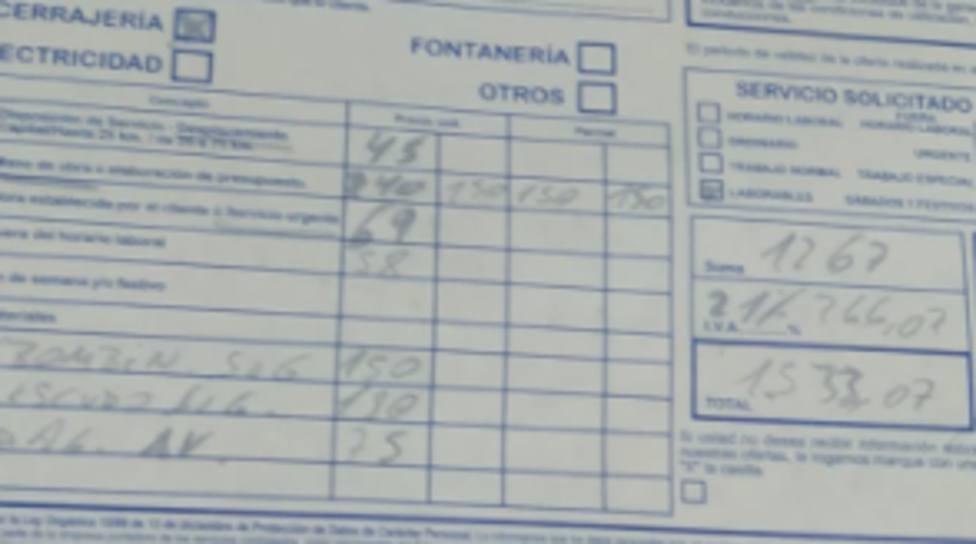 Captura de factura aportada por Rodrigo Pozo Álvarez