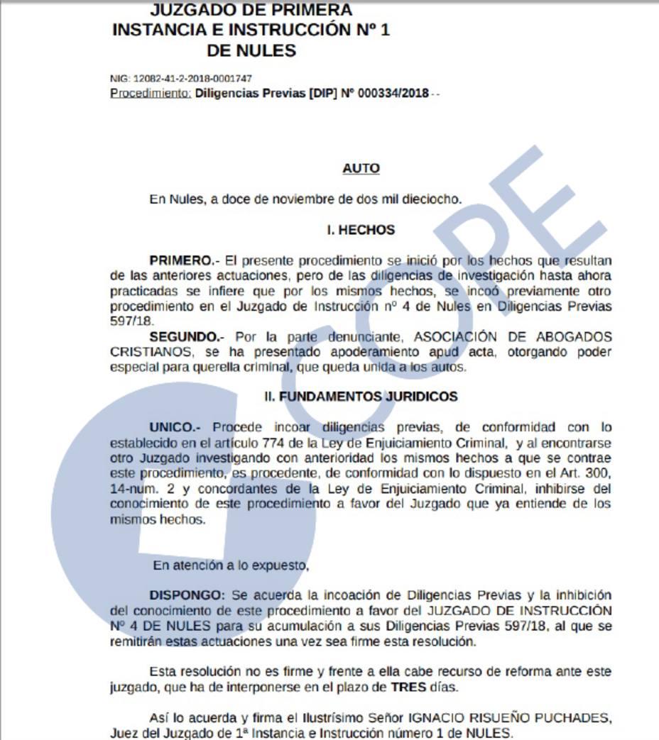 Auto Investigación alcaldesa de Vall dUixó